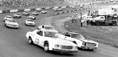 Number 15 Bobby Allison scoots ahead of #5 Neil Bonnett in the Oct. 1, 1978 Wilkes 400.