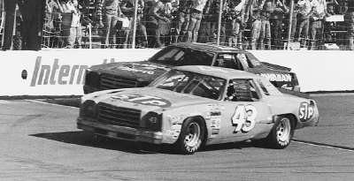 Richard Petty flashes across the finish line just in front of Donnie Allison to win the 1979 CRC Chemicals 500.