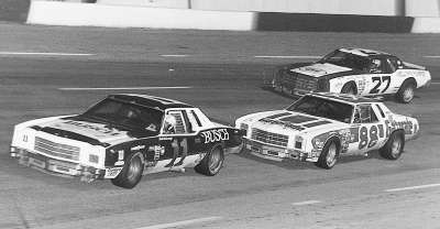 Cale Yarborough (#11) leads #88 Darrell Waltrip and #27 Benny Parsons in the May 10, 1980 Music City USA 420.