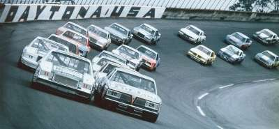 Bobby Allison and Darrell Waltrip occupy the front row at the start of the Feb. 15, 1981 Daytona 500.