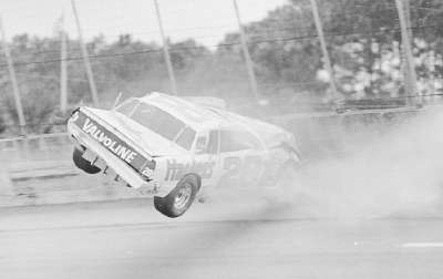 Cale Yarborough's Chevrolet spirals in air after bouncing off the wall during qualifications for the Feb. 20, 1983 Daytona 500.