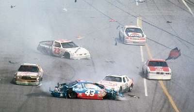 Richard Petty's spectacular crash on the 106th lap of the 1988 Daytona 500 spewed parts all over the front stretch.