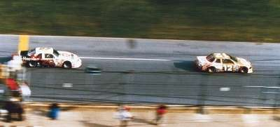 Bobby Allison's #12 Buick finishes two car lengths ahead of Davey Allison's #28 Ford at the 1988 Daytona 500.