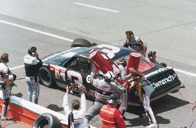 Dale Earnhardt pits during the 1988 Miller High Life 400 at Michigan International Speedway.