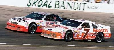 Alan Kulwicki on his way to a fourth-place finish in the 1992 Pyroil 500, a NASCAR Winston Cup series event.