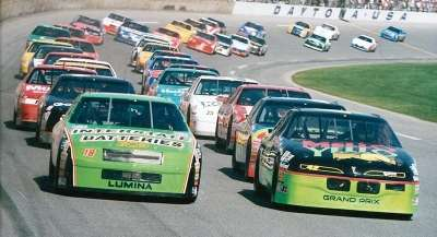 Kyle Petty and Dale Jarrett lead as the 1993 Daytona 500 starts -- a NASCAR Winston Cup series event.