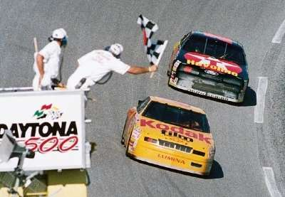 Driver Sterling Marlin wins the 1994 Daytona 500, a NASCAR Winston Cup series event.