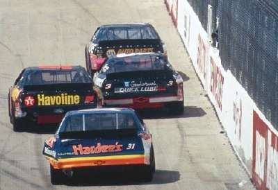 Bobby Hamilton, Dale Earnhardt, Ernie Irvan, and Ward Burton in NASCAR's 1994 Food City 500.