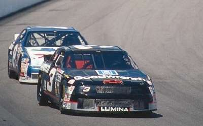 Dale Earnhardt leads in the 1994 Slick 50 300, a NASCAR Winston Cup series event.