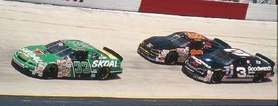 Rookie Robert Pressley takes the lead in the 1995 Food City 500, a NASCAR Winston Cup series event.