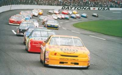 Sterling Marlin takes the lead during the 1996 Daytona 500, a NASCAR Winston Cup series event.