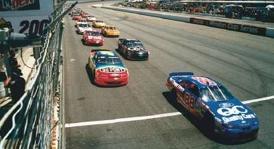 Dale Jarrett takes the lead in the 1996 Mountain Dew Southern 500, a NASCAR Winston Cup series event.