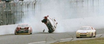 Dale Earnhardt begins a wild ride in the 1997 Daytona 500, a NASCAR Winston Cup season event.