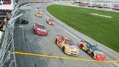 Three Hendrick Motorsports drivers finish the 1997 Daytona 500, a NASCAR Winston Cup event, under caution.