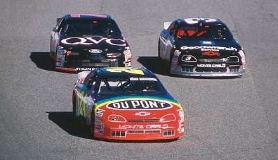 Jeff Gordon leads the 1997 Jiffy Lube 300, a NASCAR Winston Cup series event.