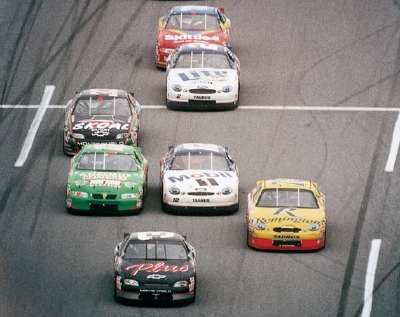 Dale Earnhardt leads the pack in the 1998 Daytona 500, a NASCAR Winston Cup series event.