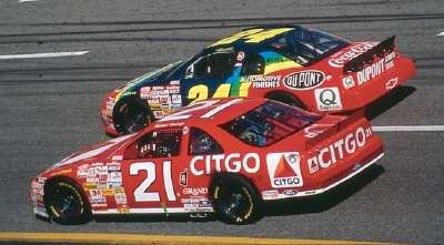 Jeff Gordon and Michael Waltrip in the 1998 Goodwrench Service Plus 400, a NASCAR Winston Cup series event.
