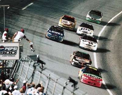 Dale Earnhardt wins a 1998 qualifying race at the Daytona International Speedway.