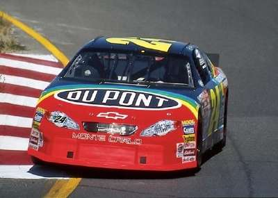 Jeff Gordon drives in the 2000 Save Mart/Kragen 300, a NASCAR Winston Cup series event.