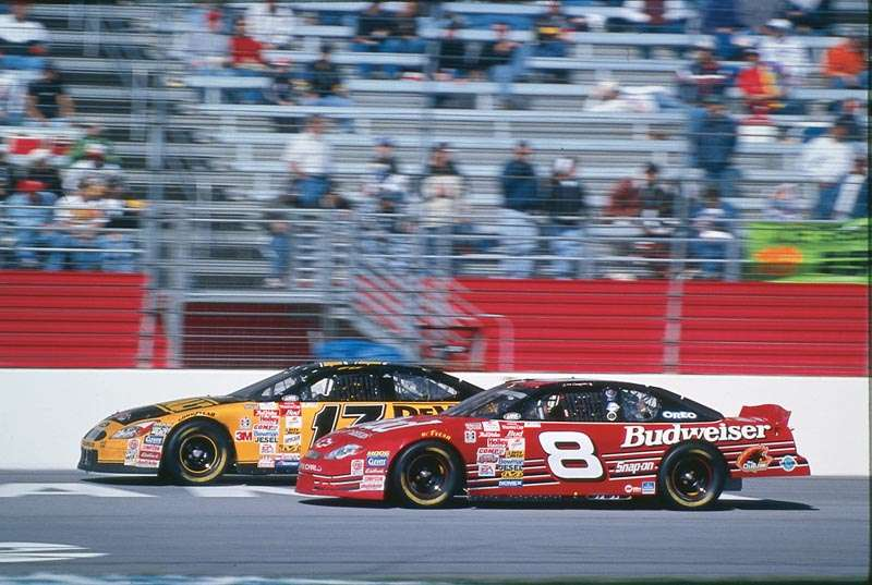 Rookie drivers Matt Kenseth and Dale Earnhardt, Jr. drive in the 2000 DirecTV 500, a NASCAR Winston Cup series event.