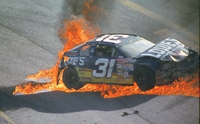 Mike Skinner crashes in the 2001 Tropicana 400, a NASCAR Winston Cup series event.