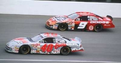 Bill Elliott and Sterling Marlin drive in the 2001 Brickyard 400, a NASCAR Winston Cup series event.