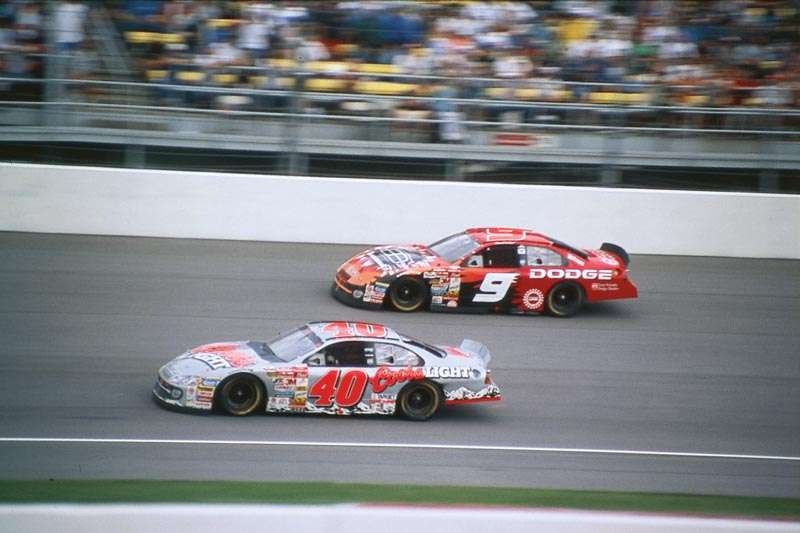 Sterling Marlin and Bill Elliott drive in the 2001 Brickyard 400, a NASCAR Winston Cup series event.