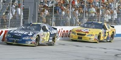 Jimmie Johnson drives in the 2005 MBNA RacePoints 400, a NASCAR NEXTEL Cup series event.