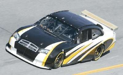 A test drive of a Dodge NASCAR Car of Tomorrow before the 2006 Daytona 500.