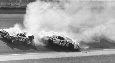 Number 15 Bobby Allison and #44 Terry Labonte crashed hard on the 91st lap of the July 4 Firecracker 400.
