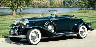 1932 Cadillac V-8 convertible coupe, part of the 1930-1935 Cadillac Eight line of collectible cars.