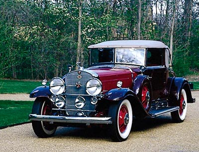 The 1930 Cadillac V-16 convertible coupe, part of the 1930-1937 Cadillac Sixteen line of collectible cars.