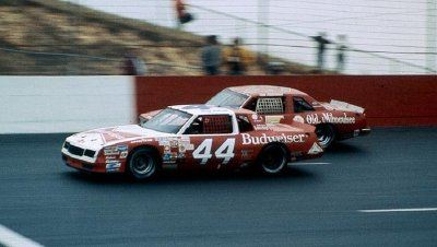 Number 44 Terry Labonte and Tim Richmond battle in the closing stages of the Warner H. Hodgdon American 500.