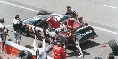 Dale Earnhardt pits during the June 26 Miller High Life 400 at Michigan International Speedway.