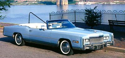 The 1975 Cadillac Fleetwood Eldorado convertible, part of the 1971-1976 Cadillac Fleetwood Eldorado Convertible line of collectible cars.
