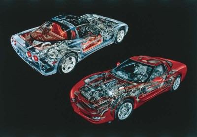 The 1997 Corvette was the first Corvette with a rear-mounted transmission linked to the engine via a stout aluminum tube.