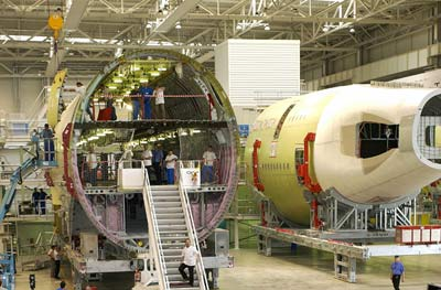 A section of the A380 being assembled in a hangar.