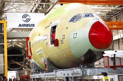 assembling the a380 in a hangar