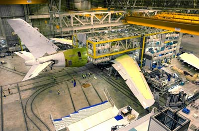 An overhead shot of the A380 being assembled in a hangar.