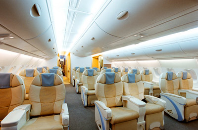 A380 cabin mock-up, upper-deck business class