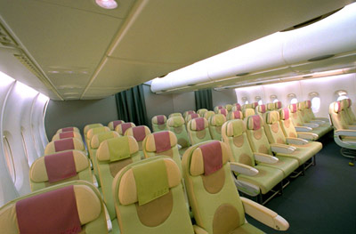 A380 cabin mock-up, main-deck economy class