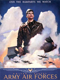 The United States Army Air Force used these posters to recruit men during World War II.