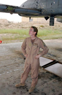 Major Kim Campbell and her plane