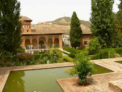 The style of the Alhambra in Spain reflects the moors, who occupied Granada.