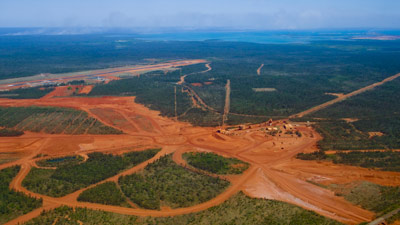 Aerial view of a bauxite mine in Australia