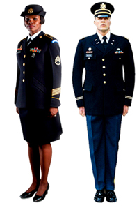 The Army recently announced plans to replace its green, white and blue service uniforms with one blue service uniform, likely similar to the Army Blue uniform pictured here.