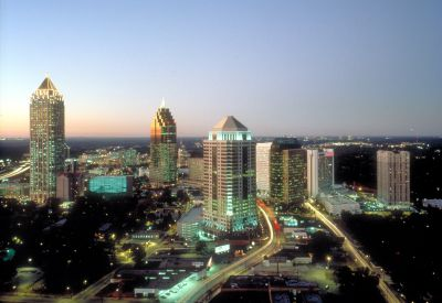 The Atlanta skyline is dotten with ultra-modern buildings.