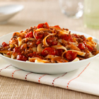 A quick skillet version --- beef and mushrooms simmered with seasoned tomatoes, then tossed with pasta