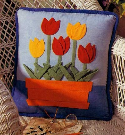 Brightly Blooming Tulips Quilted Pillow