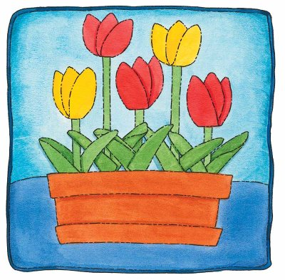 Brightly Blooming Tulips Quilted Pillow Pattern